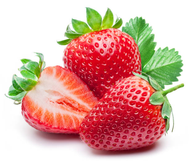 three strawberries with strawberry leaf. - fragole foto e immagini stock