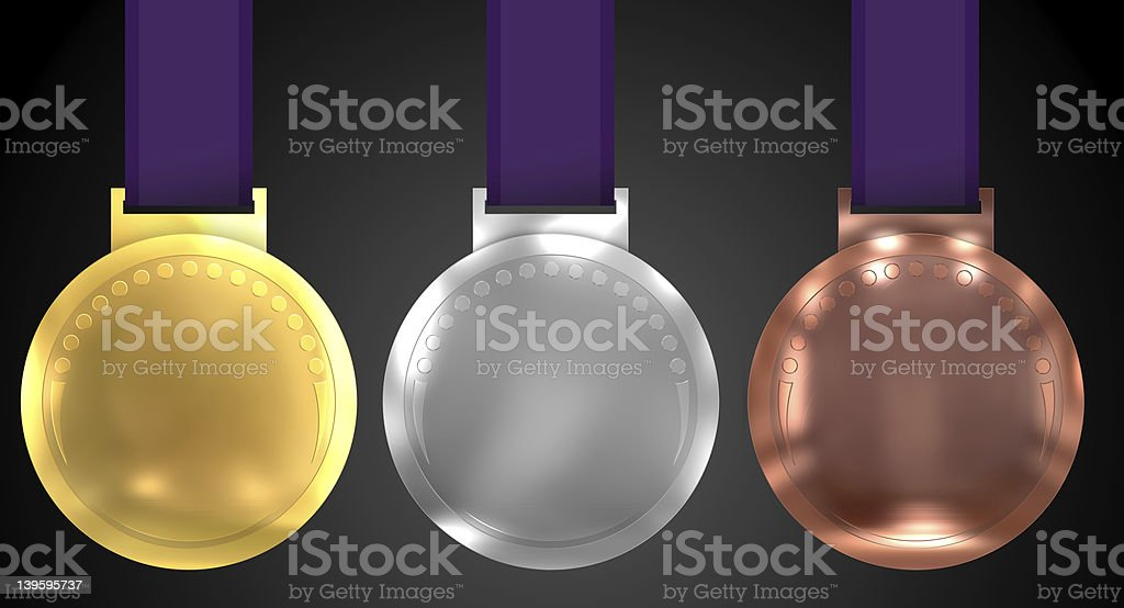 Three Olympic Style Medals with clipping paths royalty-free stock photo