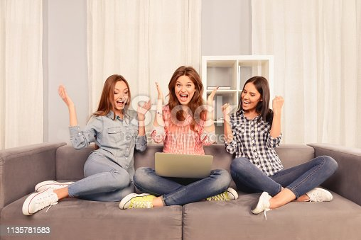 istock Three successful happy girls sitting on the couch with laptop 1135781583