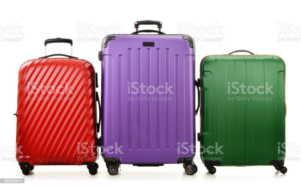 Three suitcases isolated on white stock photo