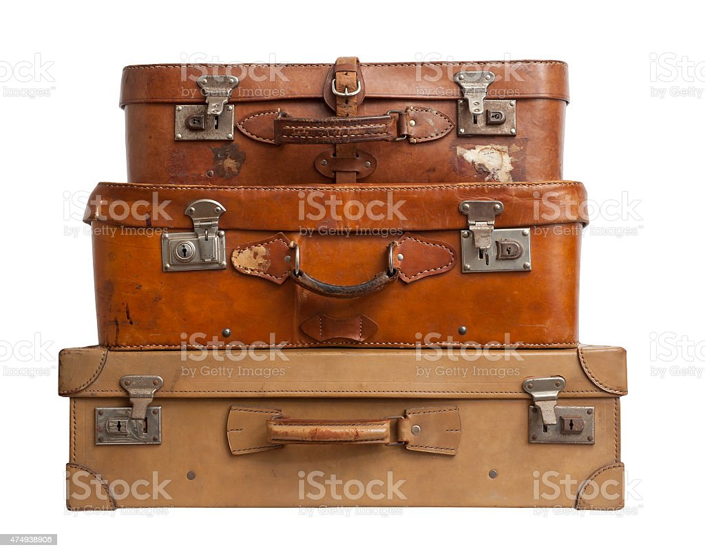 Three suitcases on white background, clipping path. stock photo