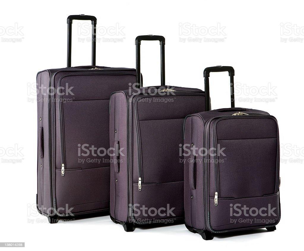 Three Suitcases on White Background royalty-free stock photo