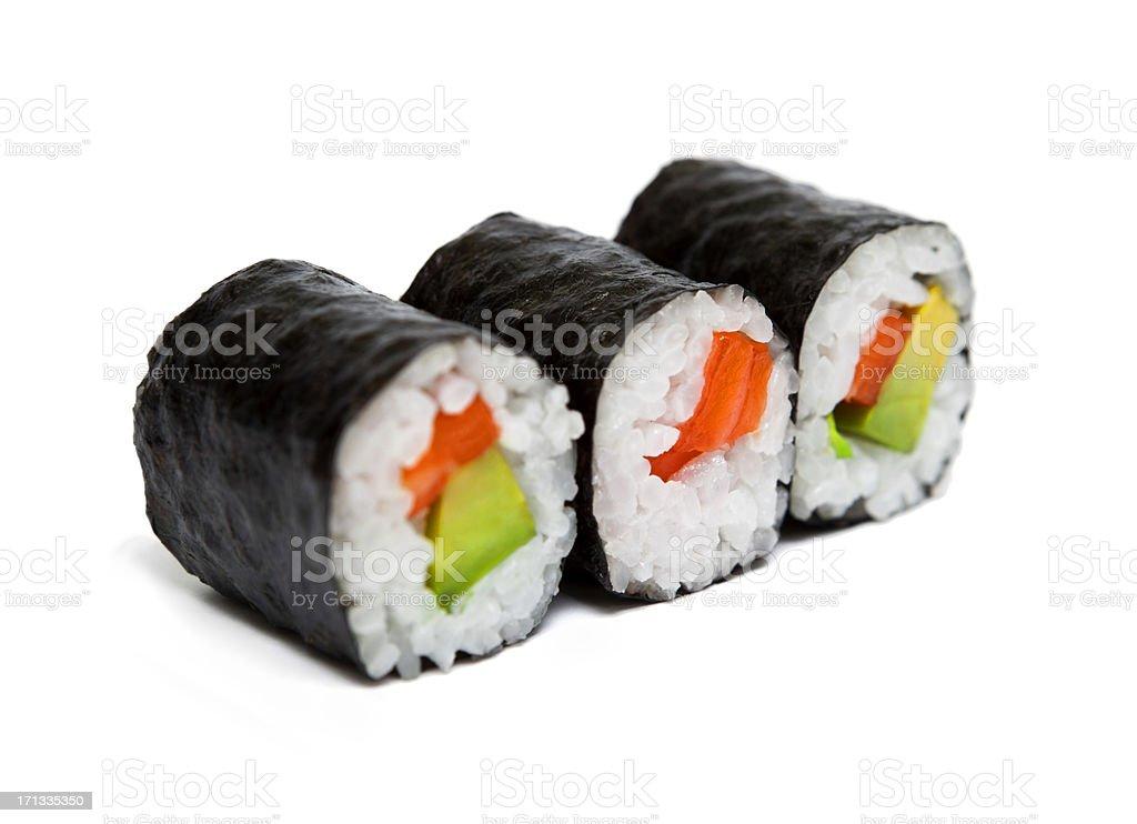 Three sushi rolls royalty-free stock photo