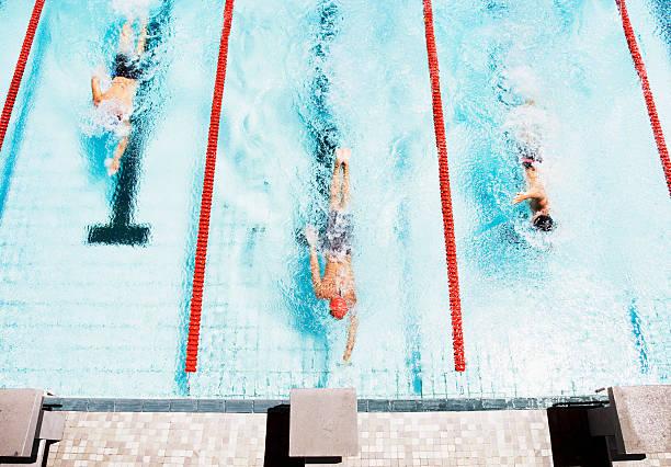 tres nadadores que a bandeja de la piscina - natación fotografías e imágenes de stock