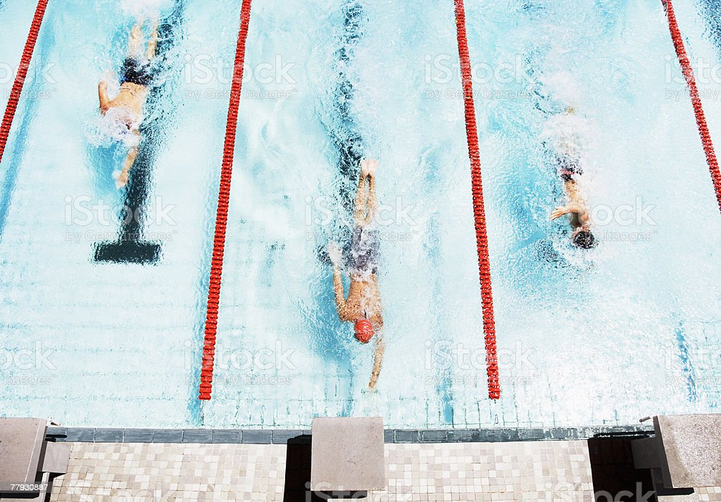Three swimmers coming to ledge of pool stock photo