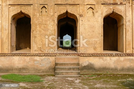 three symmetrical doors of the cenotaphs in Orchha, India