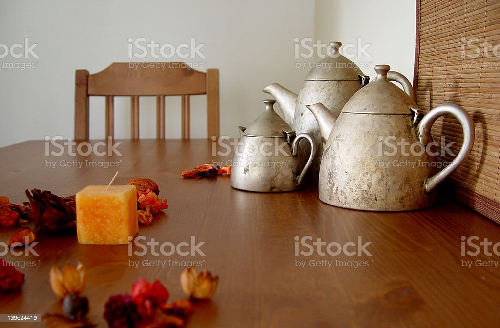 Three Teapots on the Table royalty-free stock photo