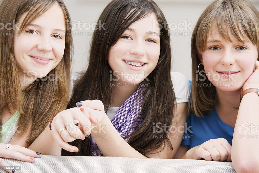 Three Teen Girls Hanging Out Together royalty-free stock photo