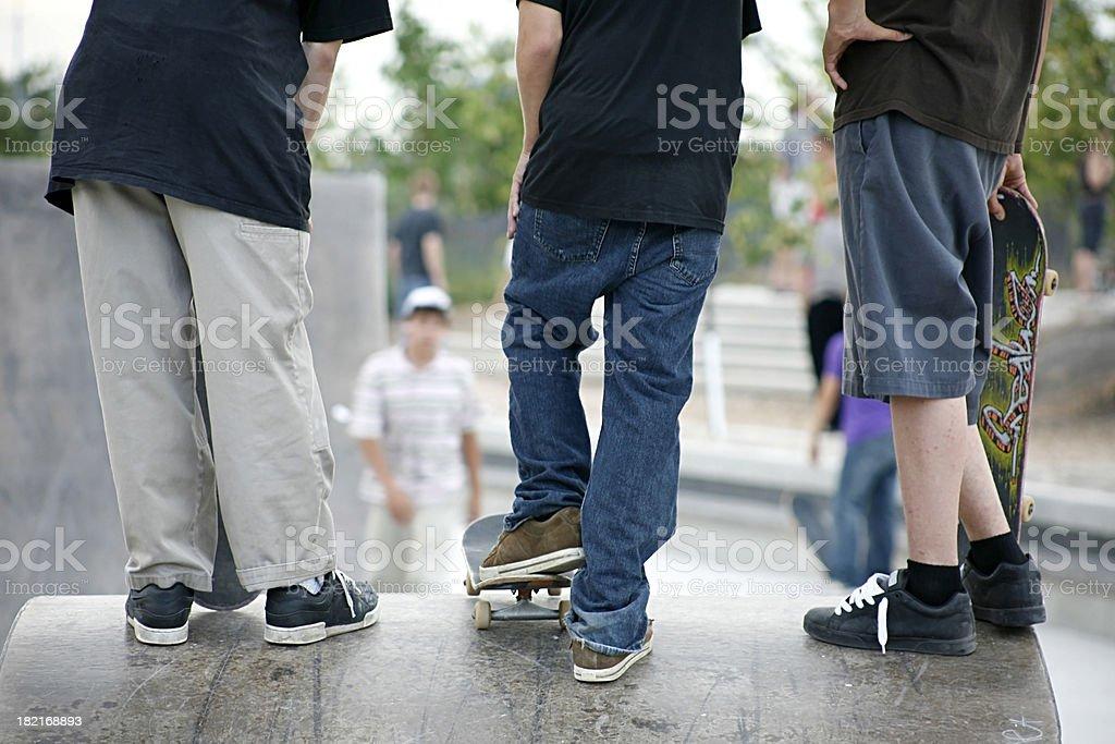 Three teenage skaters. royalty-free stock photo