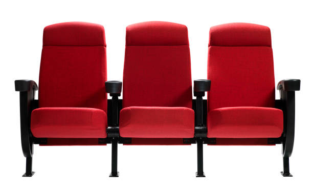 three theater seats, isolated - seat stock photos and pictures