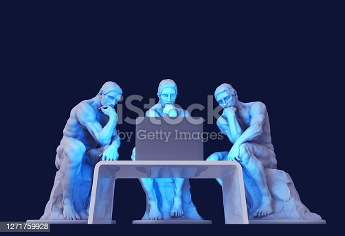 Three Thinkers Sitting In Front Of A Computer Screen. 3D Illustration.