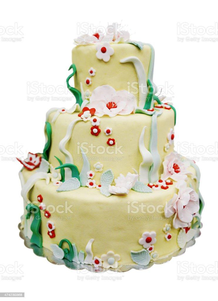 Three Tier Cake Isolated on White stock photo
