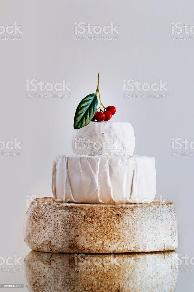 Three tier cheese cake stock photo