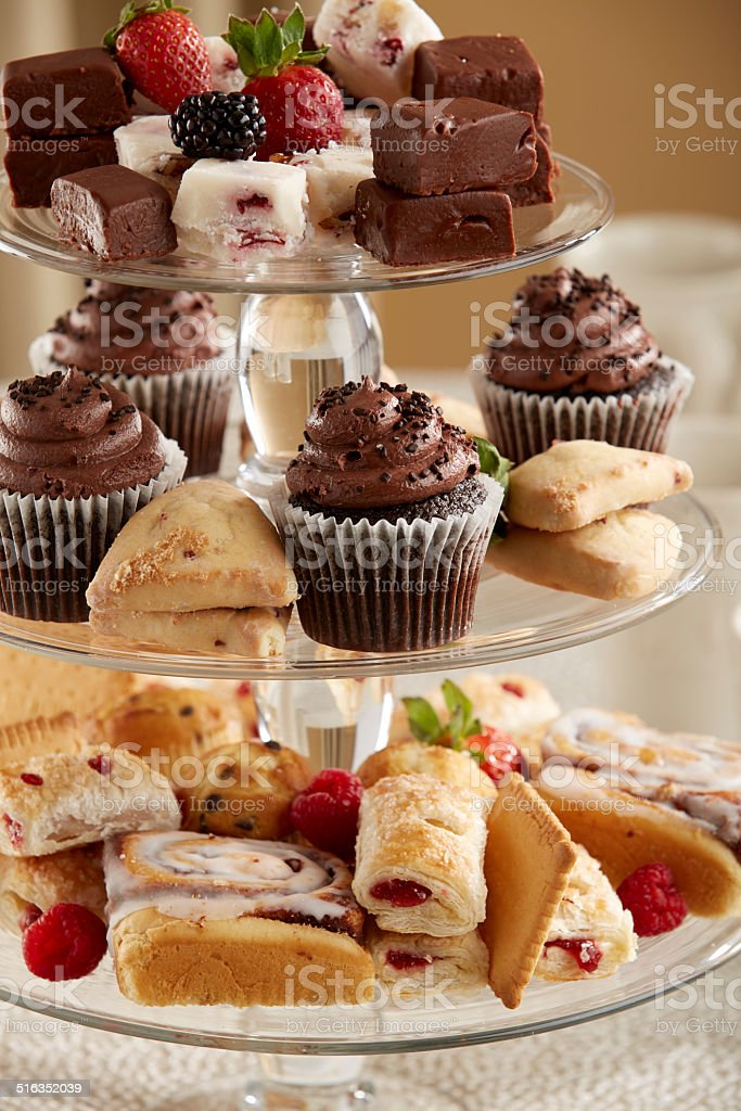 Three Tier Glass Serving Tray With Mixed Pastries Stock Photo Download Image Now Istock