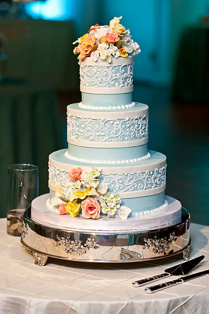 three tiered wedding cake with candy roses - intricacy stock pictures, royalty-free photos & images