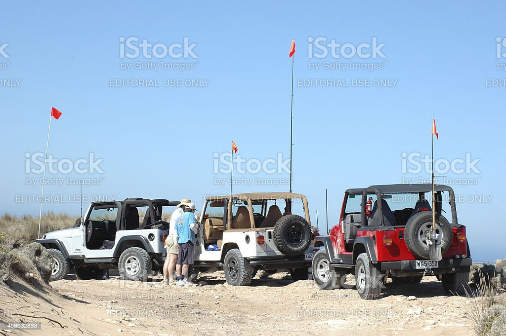 Three TJ Jeep Wranglers between Robe and Beachport, South Australia stock photo