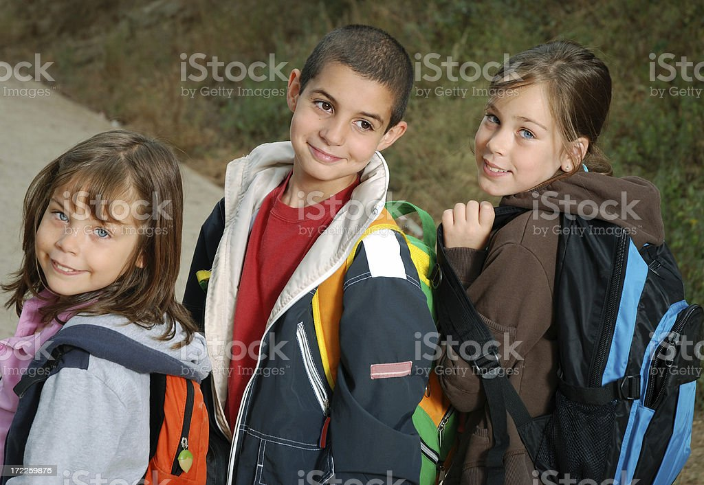 Three to the school royalty-free stock photo
