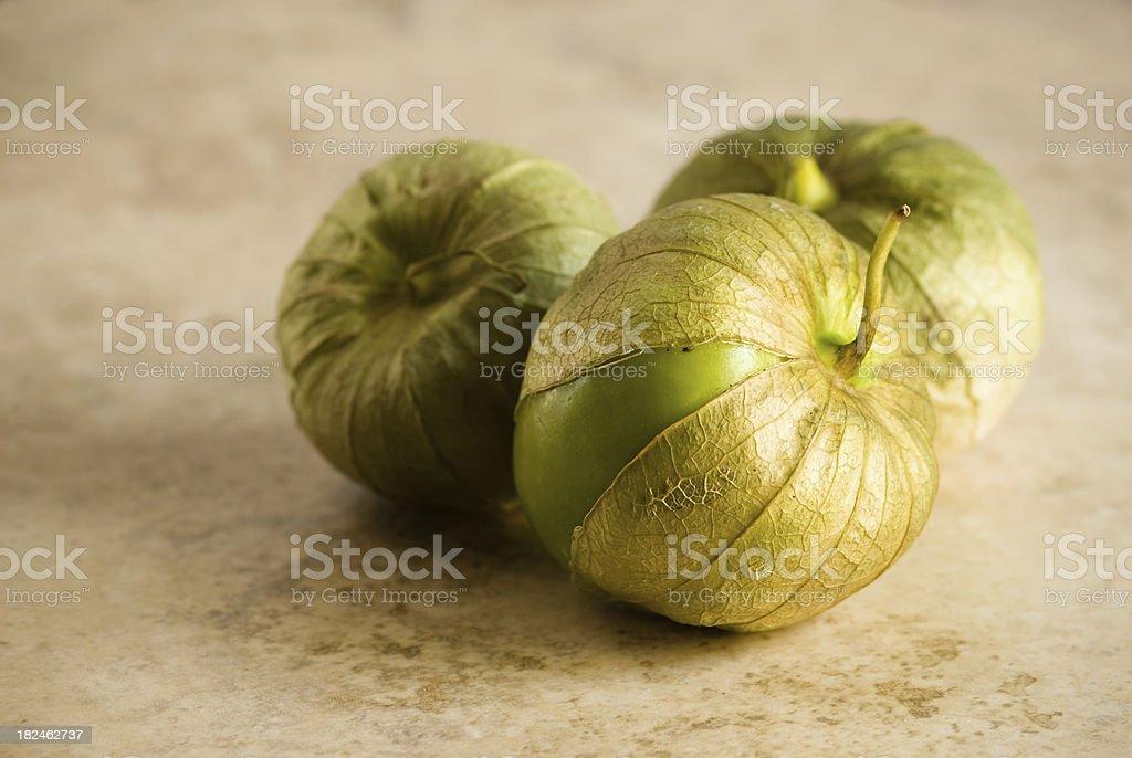 Three Tomatillos in husks stock photo