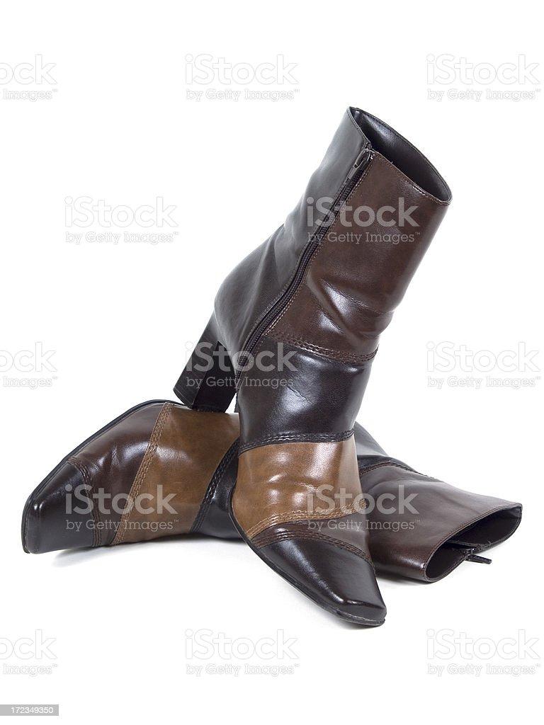 Tres tono botas de cuero foto de stock libre de derechos
