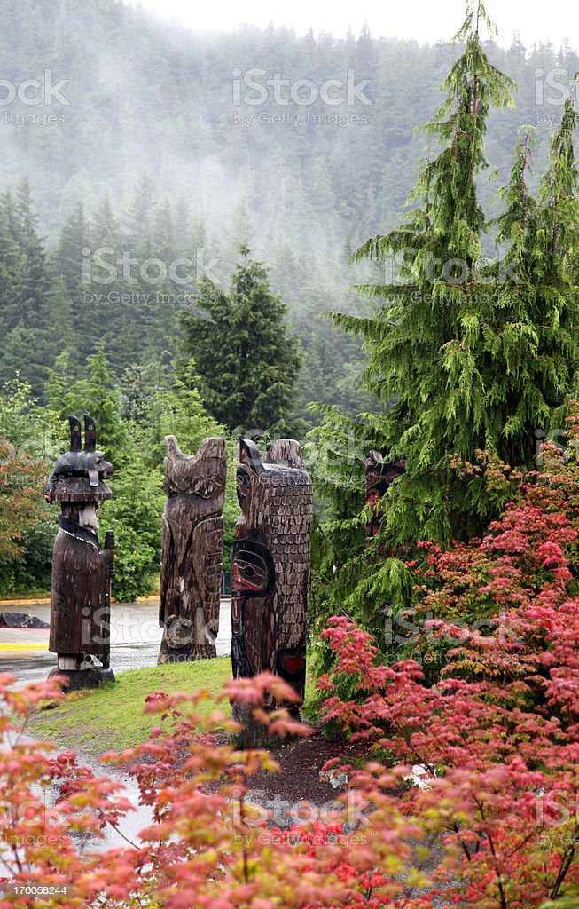 Three Totem Poles stock photo