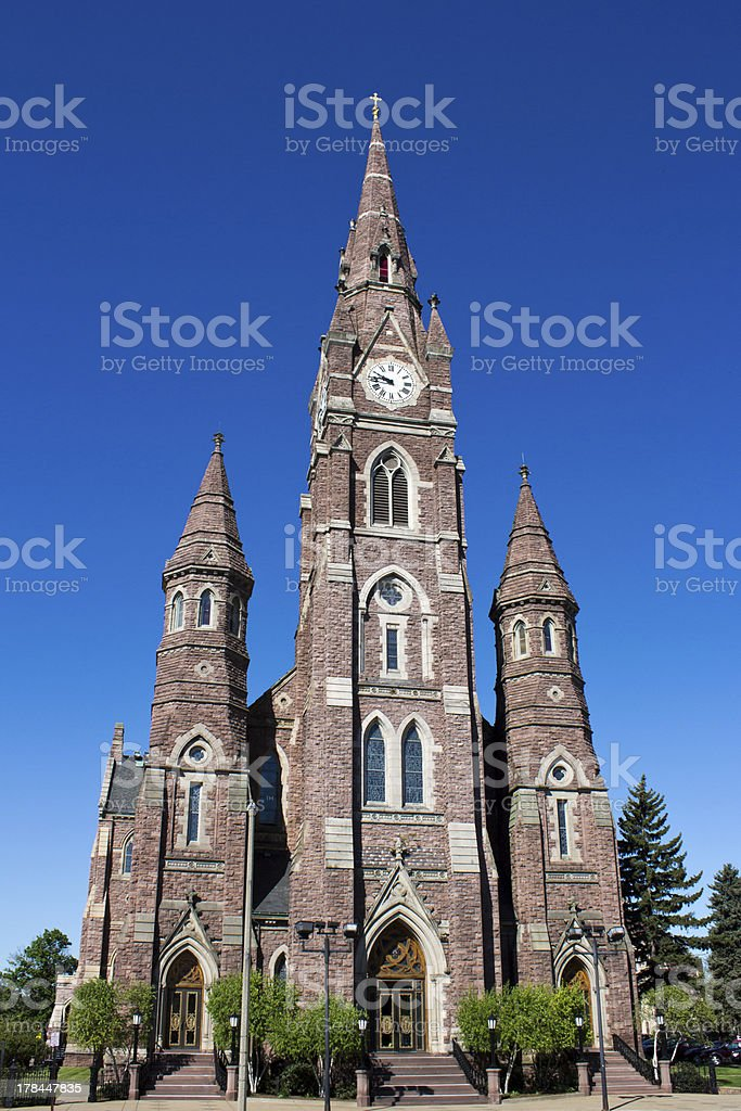 Three Tower Red Stone Cathedral stock photo
