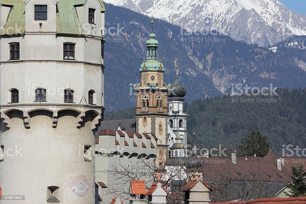 Three Towers of Medieval Hall in Tyrol stock photo
