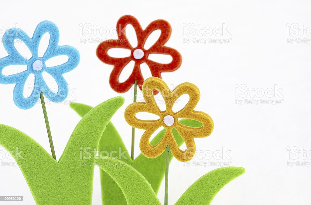 Three toy flowers II royalty-free stock photo