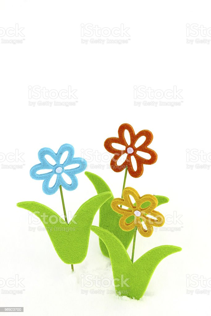 Three toy flowers royalty-free stock photo