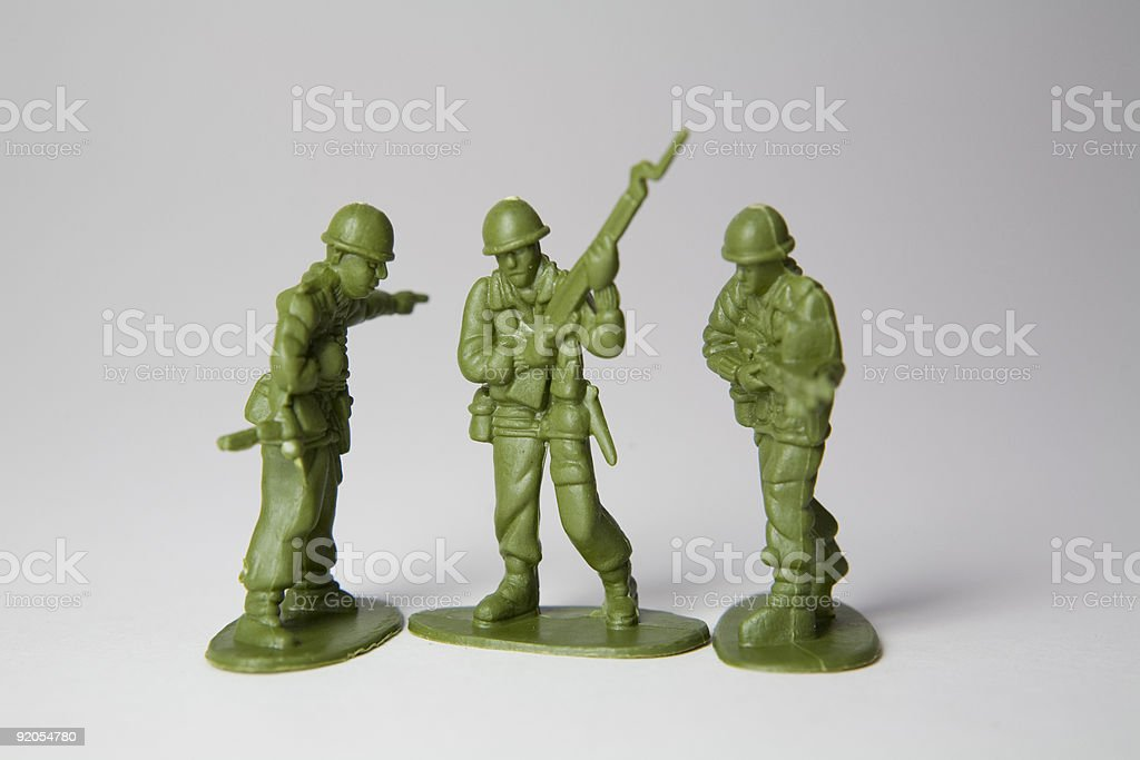 Three toy soldiers royalty-free stock photo