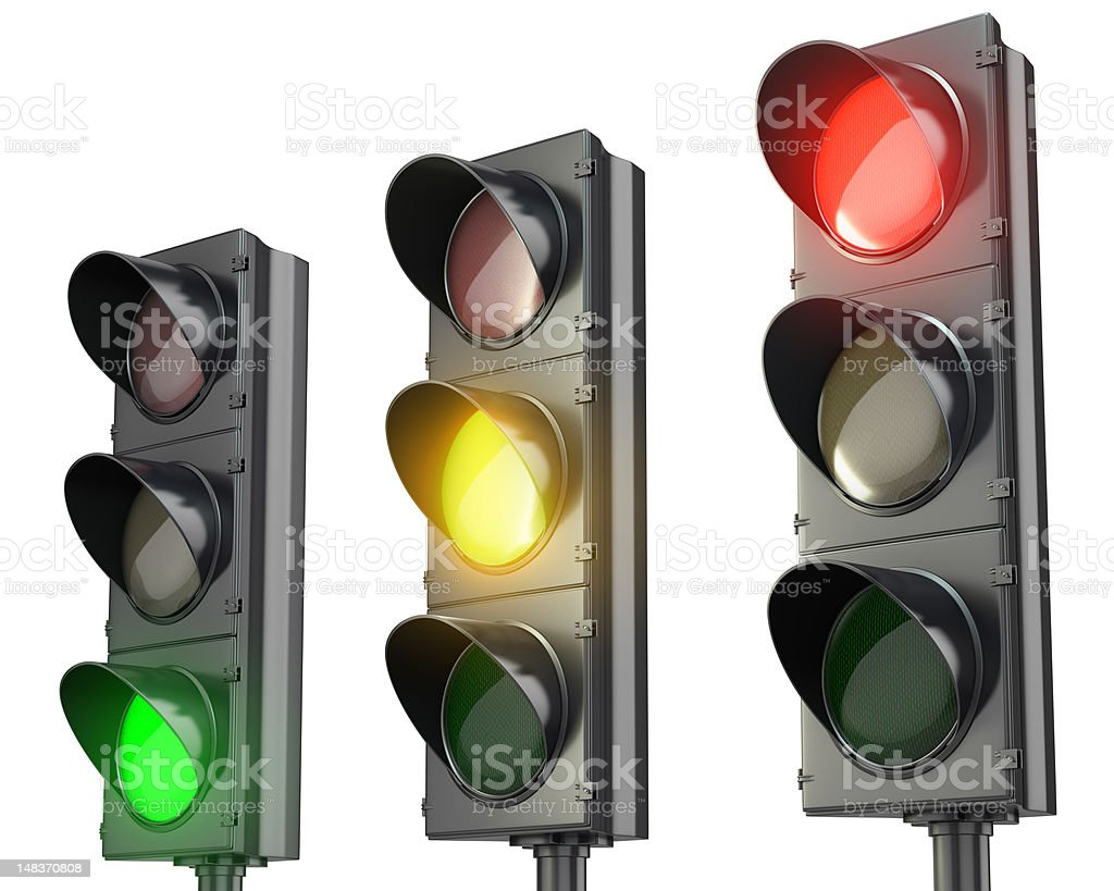 Three traffic lights, red green and yellow stock photo