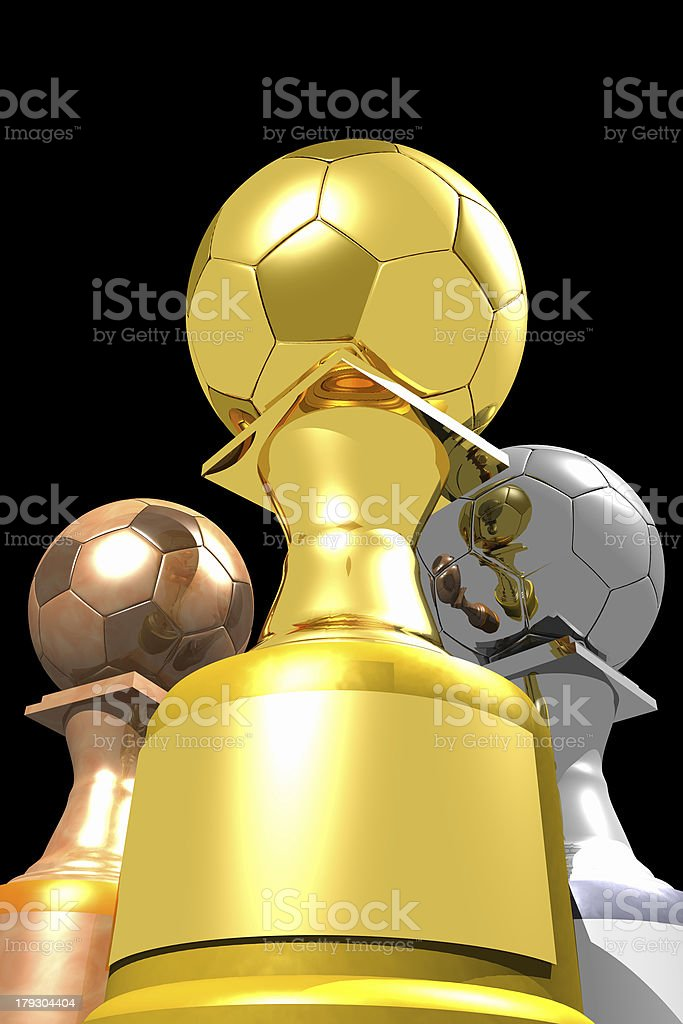 Three trophies (3D) royalty-free stock photo