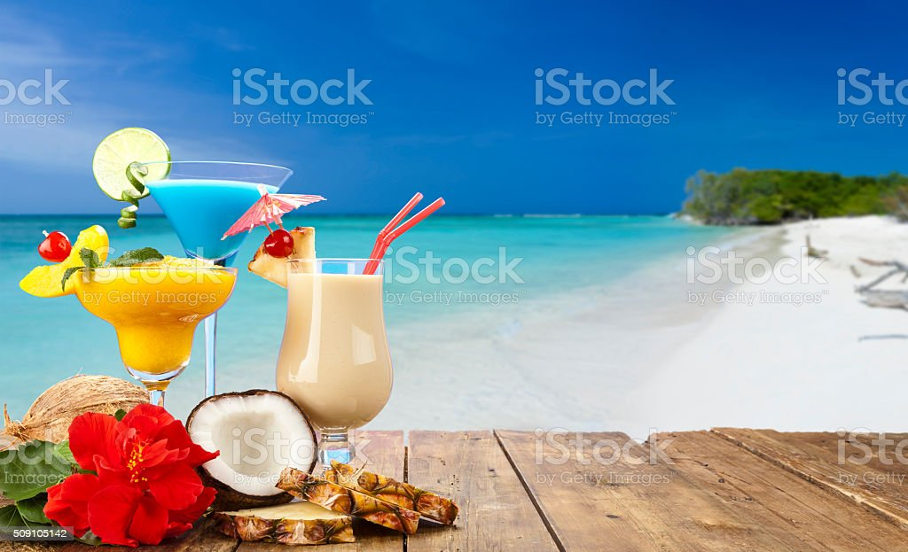 Three tropical cocktails stock photo