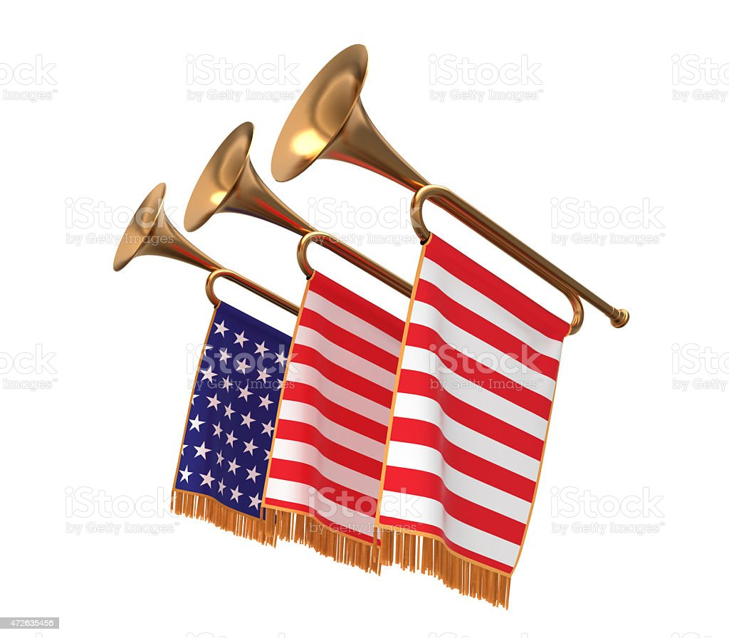 Three trumpets with a flags. stock photo