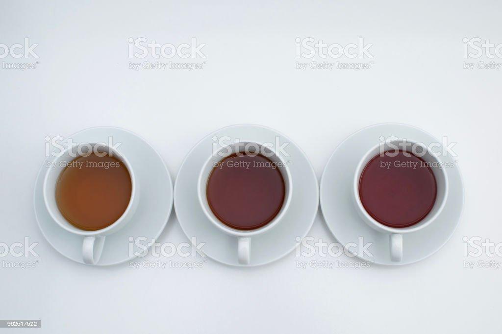 Three type of tea in white cups - Royalty-free Australia Stock Photo