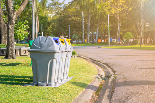 istock Three type of trash bin in the park. 936354598