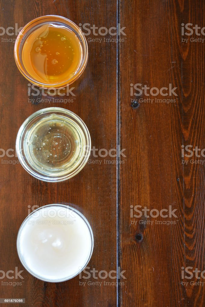 Three types of honey stock photo