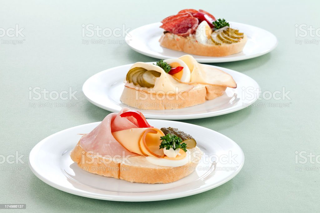 Three types of sandwiches​​​ foto