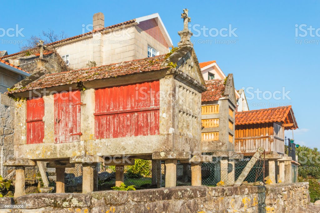 Three typical barn in Combarro royalty-free stock photo