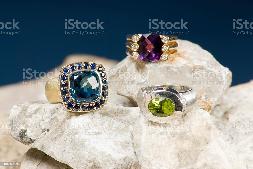 Three Unique Rings on Rocks royalty-free stock photo