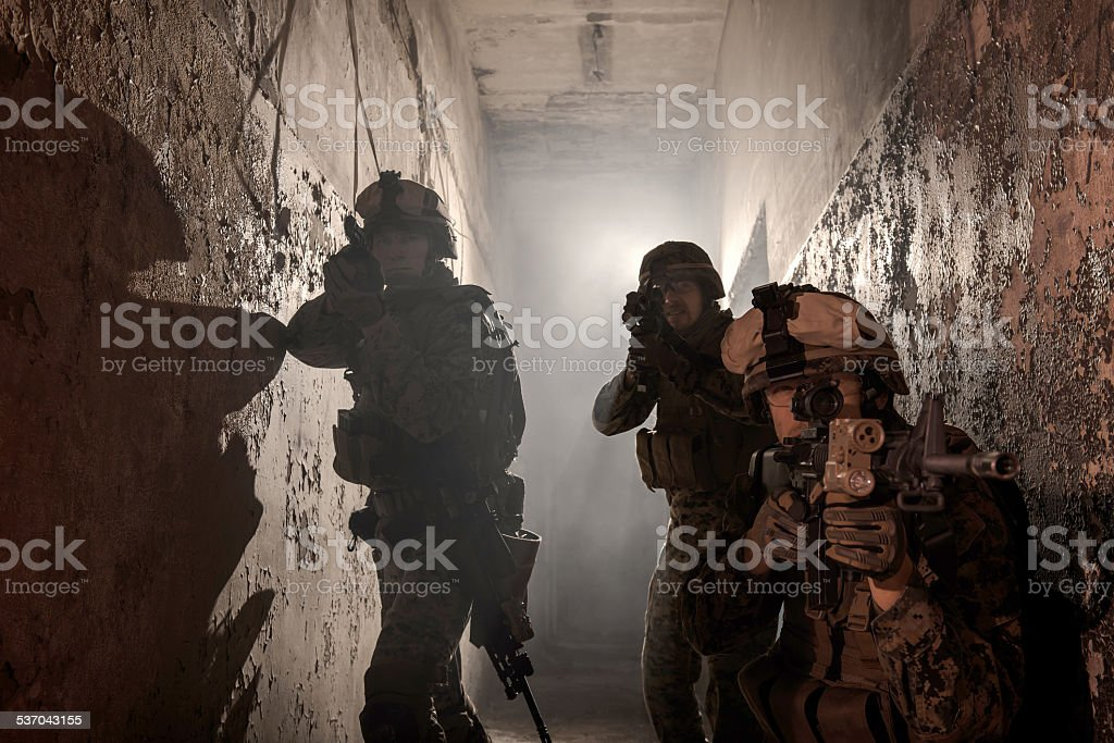 Three U.S. Marines involved in the raid. stock photo