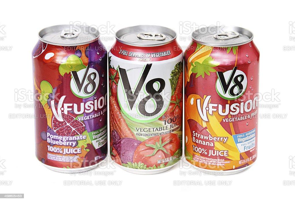 Three V8 drinks royalty-free stock photo