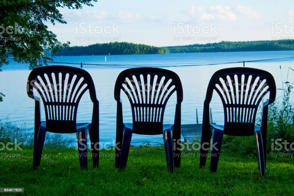 Three vacant places stock photo