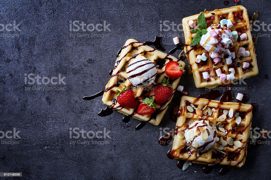 Three various belgian waffles stock photo