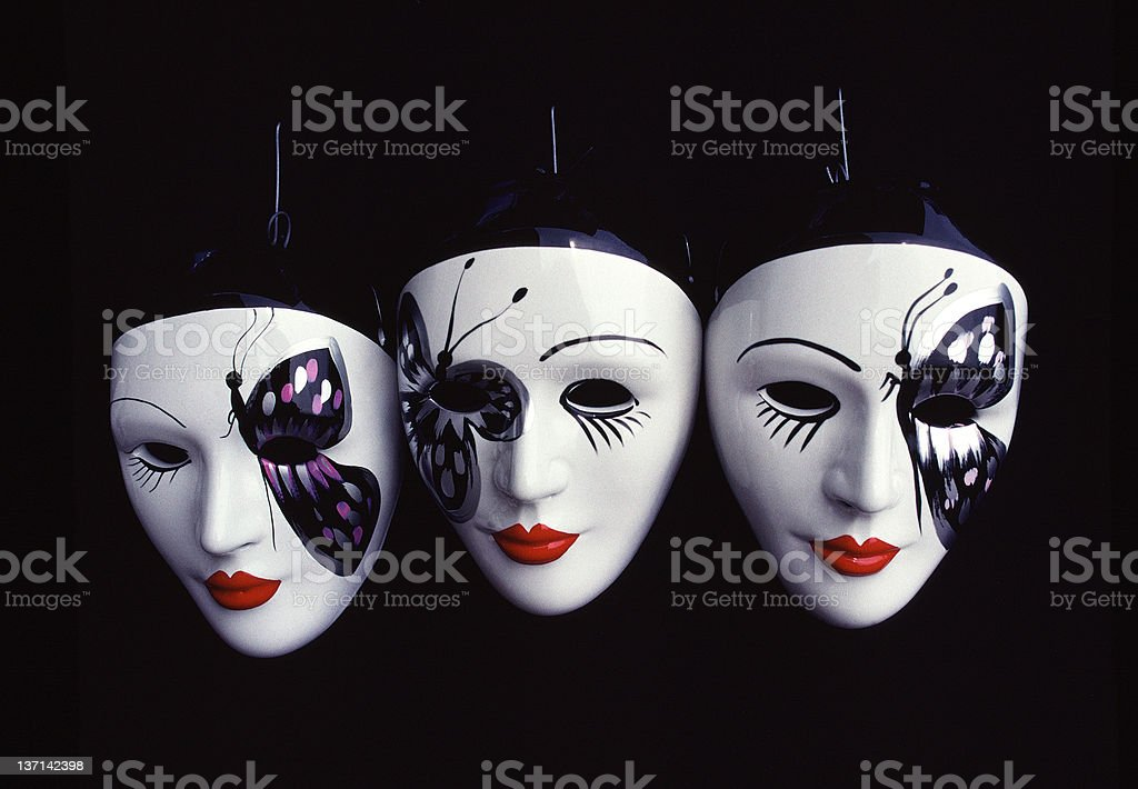 Three Venetian Carnival Masks stock photo
