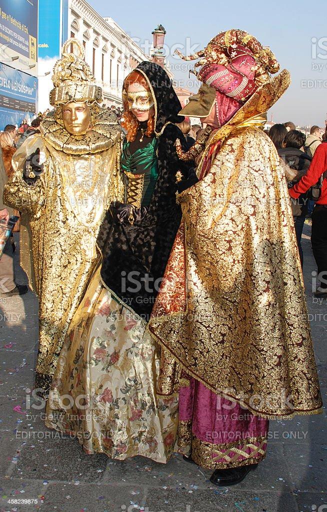 Three Venice Carnival Goers royalty-free stock photo