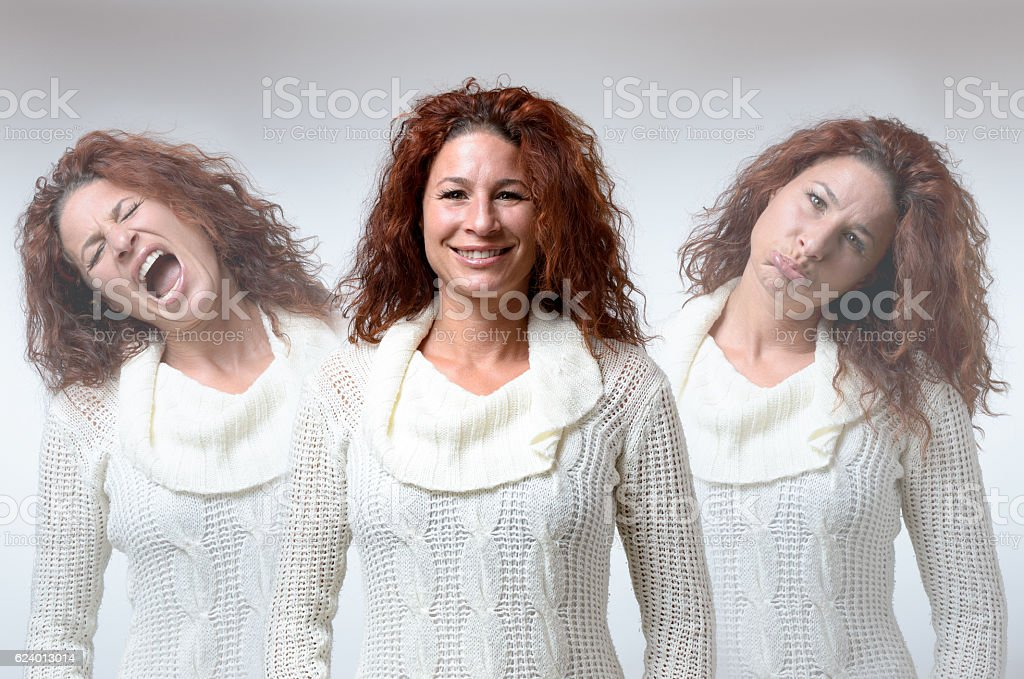 Three versions of woman in different moods - foto de acervo
