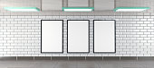 three vertical billboard frames in an underground tunnel scene as mockup, illustration rendered in 3D
