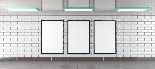 three vertical billboard frames as mockup, illustration rendered in 3D three vertical billboard frames in an underground tunnel scene as mockup, illustration rendered in 3D underground stock pictures, royalty-free photos & images