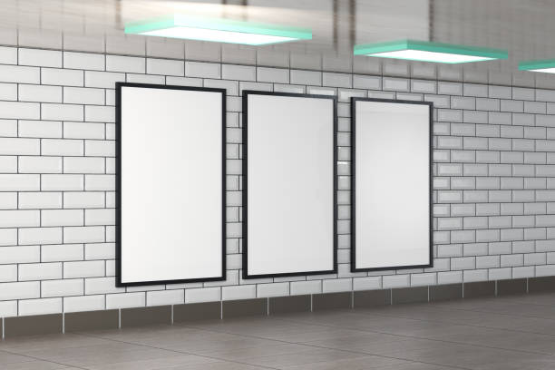 three vertical billboard frames as mockup, illustration rendered in 3D stock photo