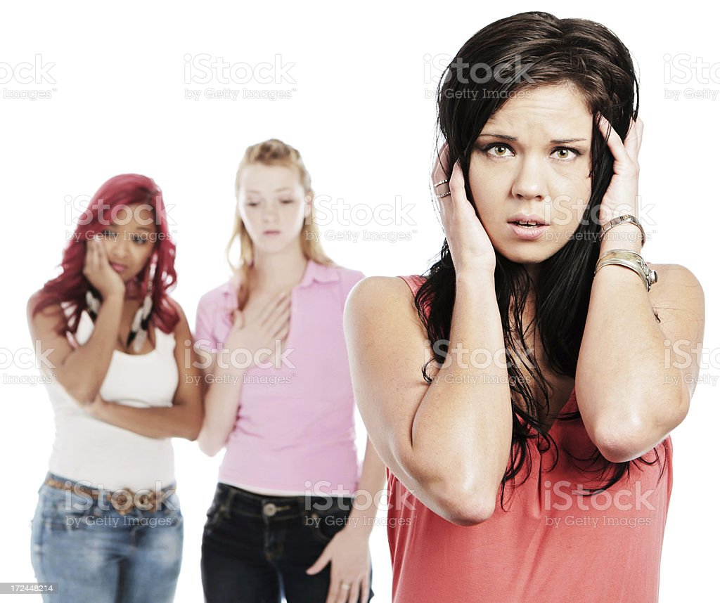 Three very upset young women have heard some bad news royalty-free stock photo